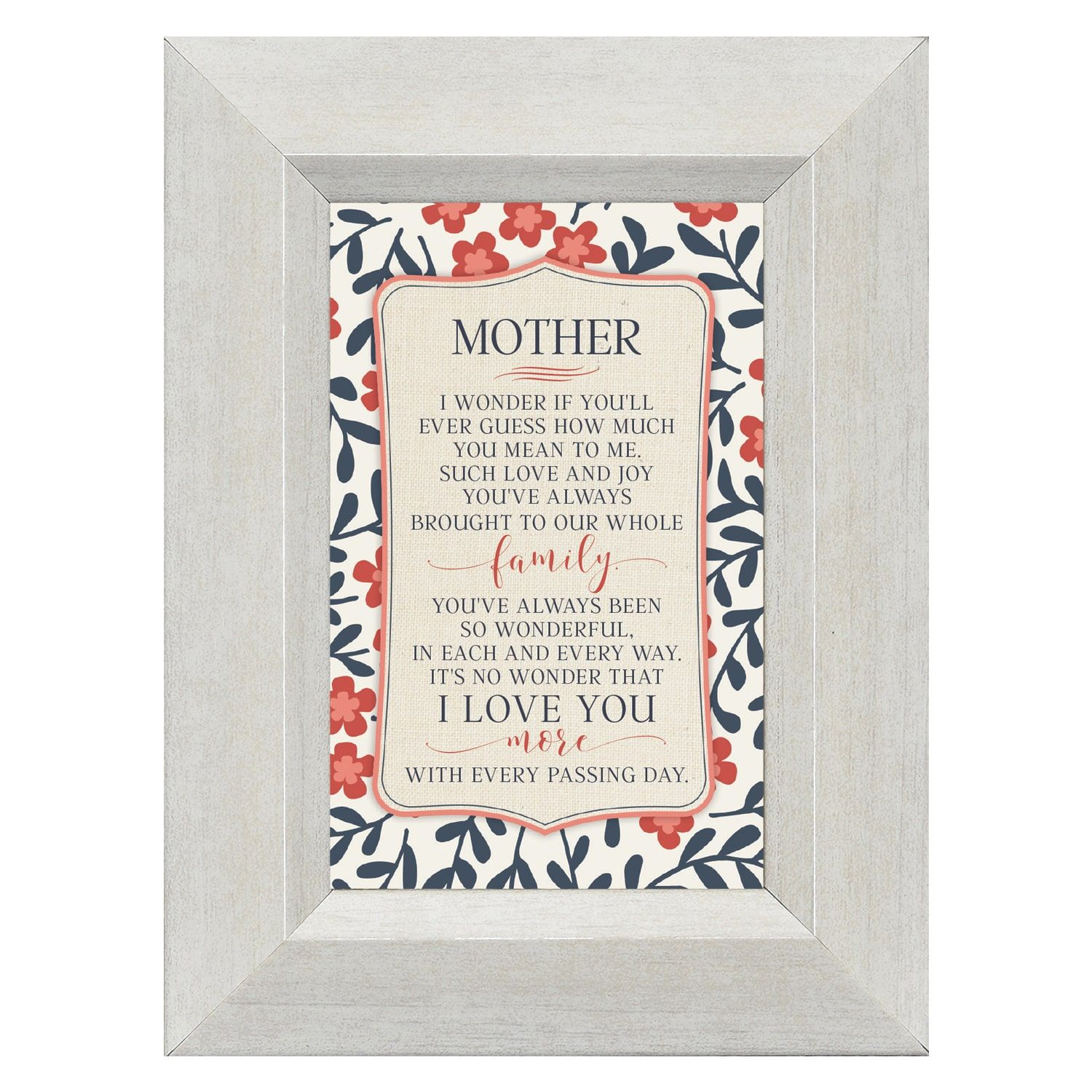James Lawrence Mother I wonder if you'll ever guess how much you mean to me 4 5/8 x 6 1/8 Framed Art