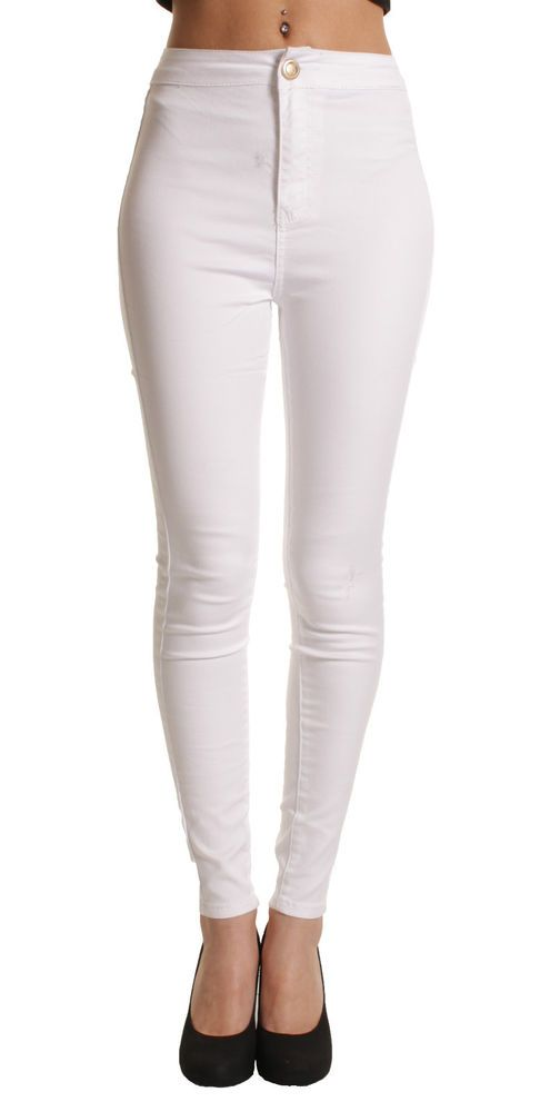 Details about LADIES WOMEN HIGH WAISTED SKINNY SLIM WHITE JEANS ...