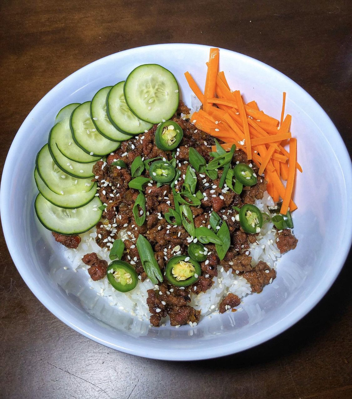 Homemade a spicy Korean inspired beef rice bowl