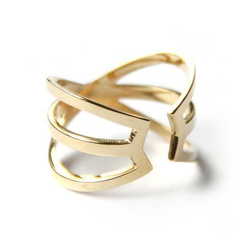 Hexagon Cuff Ring Yellow Bronze