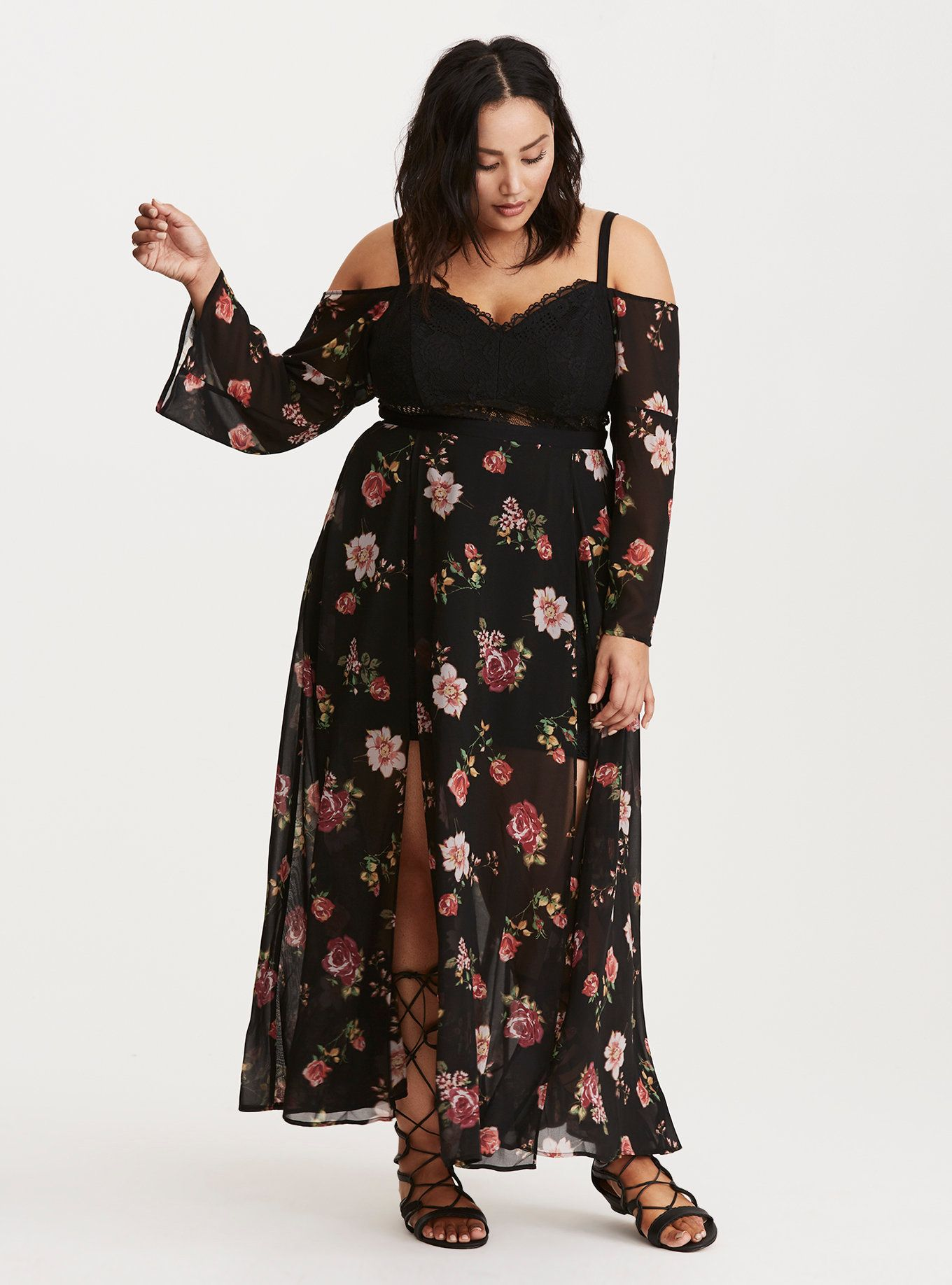 Lace dress torrid  Insider Floral Print Cold Shoulder Lace Bustier Maxi Dress  Yes