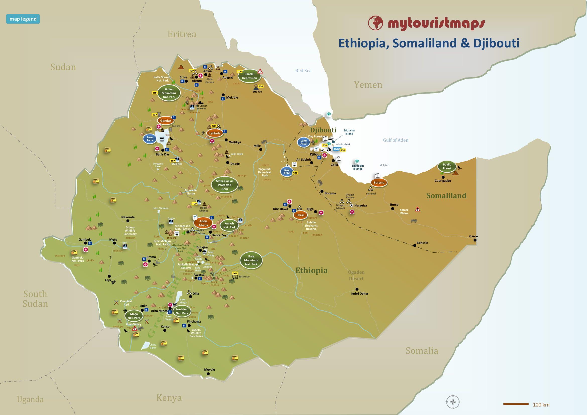 Tourist Map Of Ethiopia Somaliland Djibouti Mytouristmaps Com Tourist Map Tourist Travel Maps