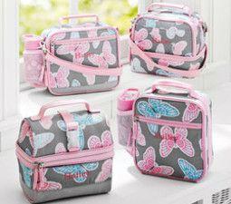 Mackenzie Grey Butterfly Lunch Bags Pottery Barn Kids