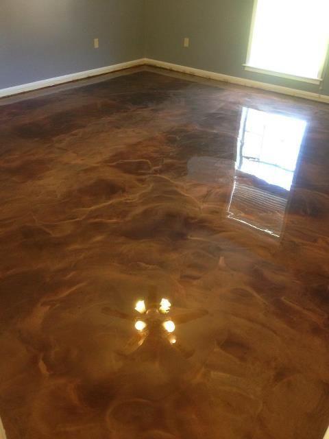 Coffee And Brass Reflector Floor Metallic Epoxy In 2019