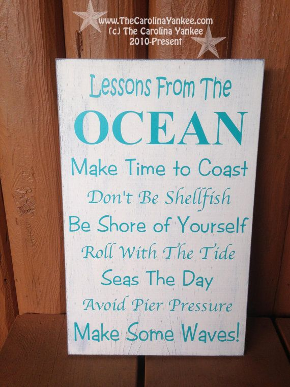 Lessons from The Ocean Home Decor Wood Board by TheCarolinaYankee