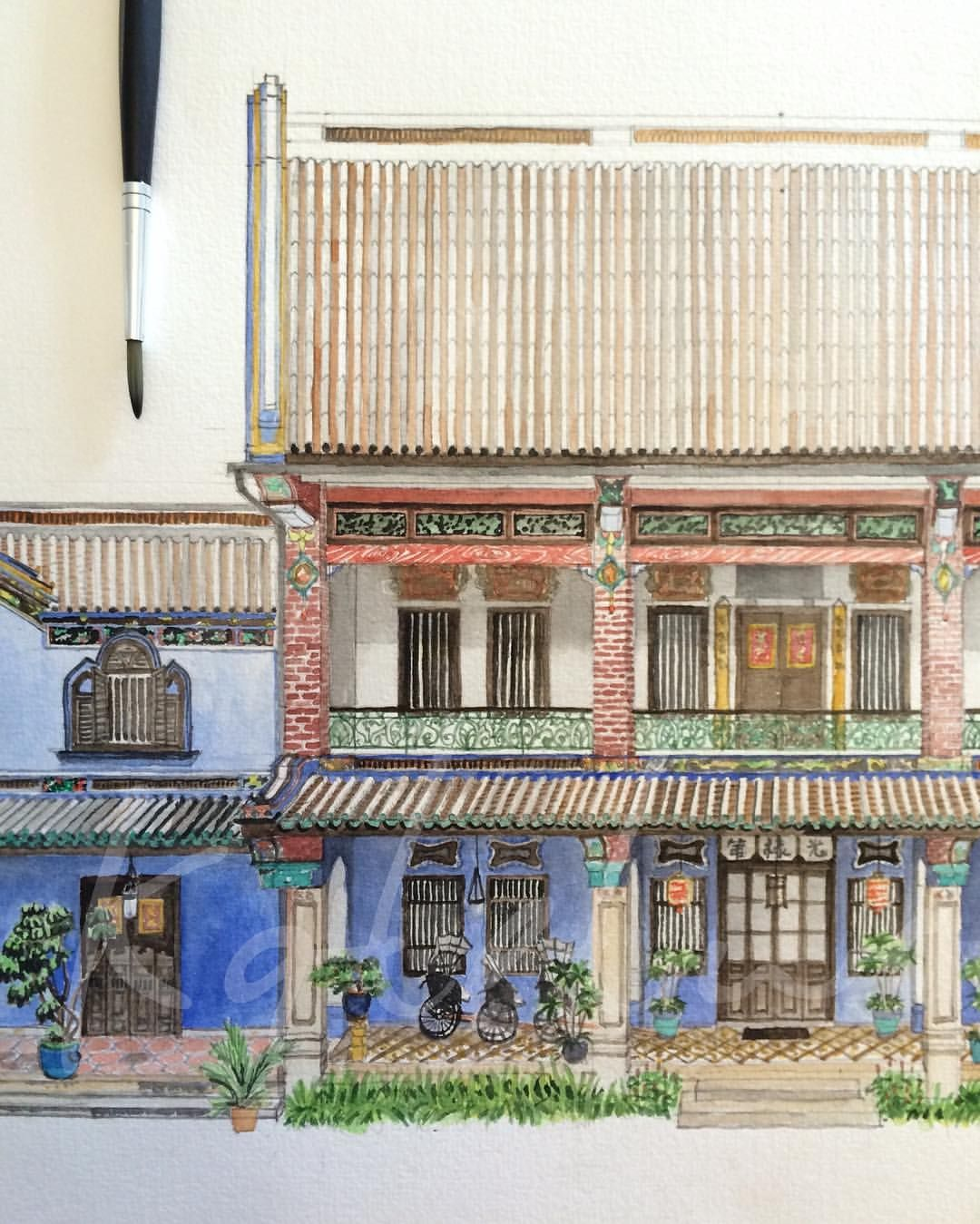 Pin By Tansri Yelinna On Store Facade Illustration Watercolor Etc Landscape Sketch Architecture Sketch Chinese Architecture