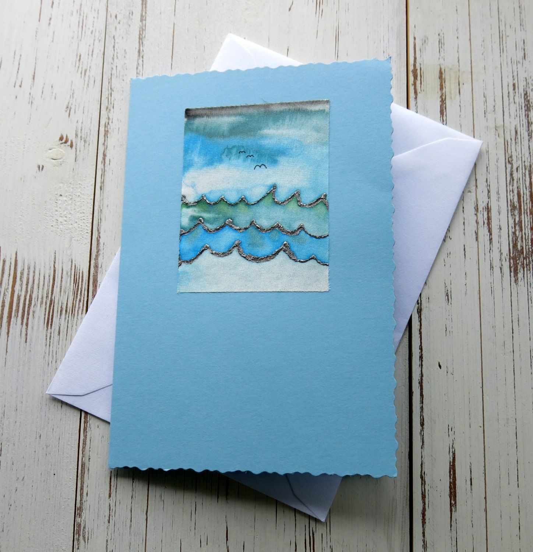 Handmade card birthday card silk painted card seascape handmade card birthday card silk painted card seascape landscape hand painted greeting cards ukpaint kristyandbryce Images