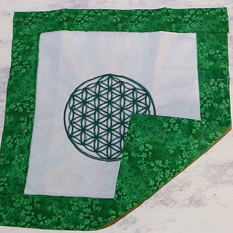 Green Flower of Life Embroidered Divination Cloth - Great for Prosperity Crystal Grids