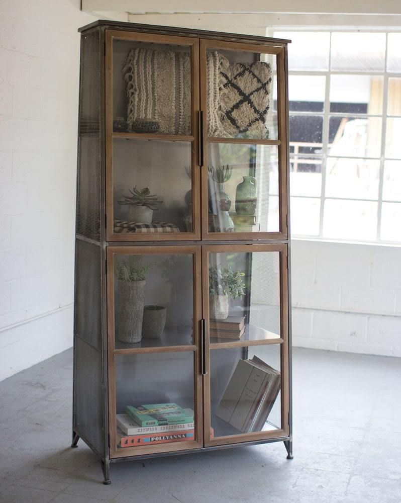 Kalalou Metal Wood Slanted Display Cabinet W Glass Doors In