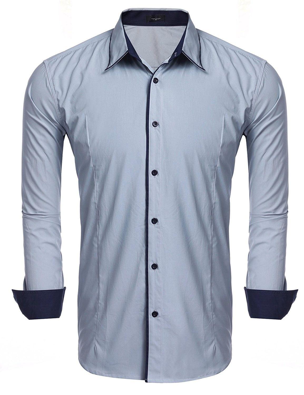 ecd9e997116 Men s Slim Fit Long Sleeve Oxford Shirt Business Casual Button Down ...