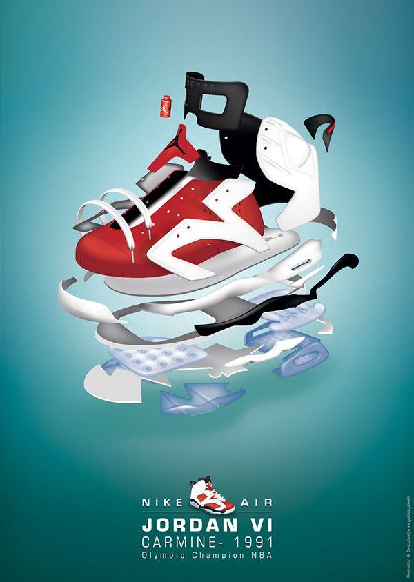 (projet personnel)Dessin du modèle de basket Nike Air Jordan sur  illustrator.Déclinaison