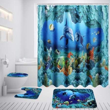 3D Dophlin Shower Curtain Set Bathroom Waterproof Fabric decor 12 Hooks Bath Mat