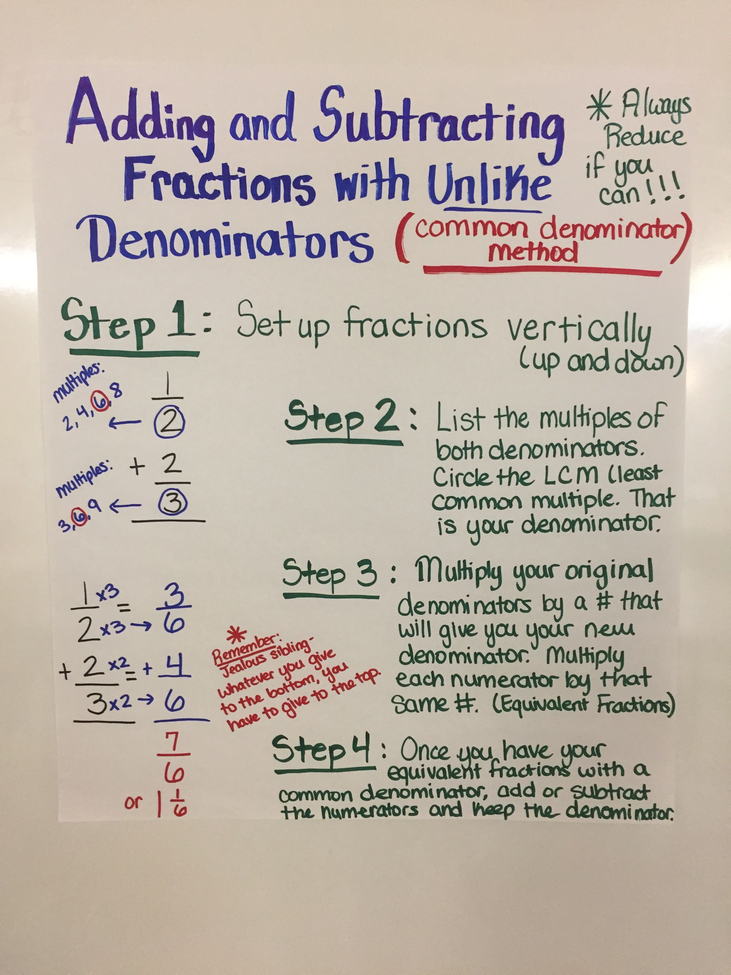 adding and subtracting fractions with unlike denominators - common