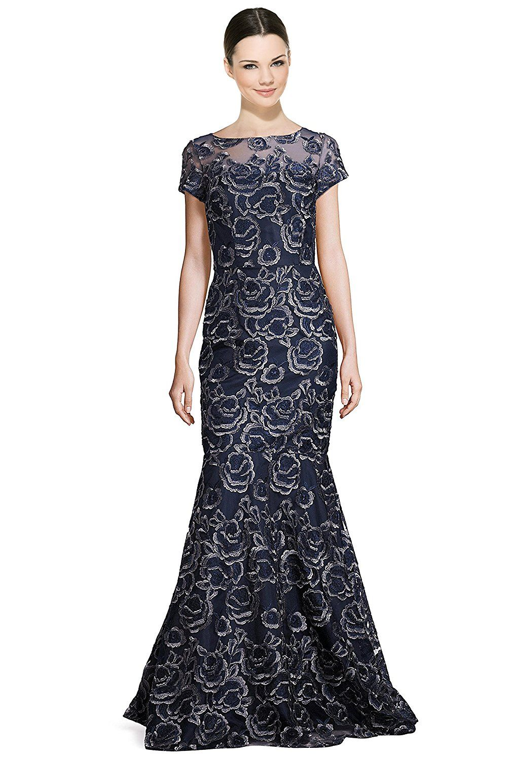 David meister embroidered lace illusion mermaid evening gown dress