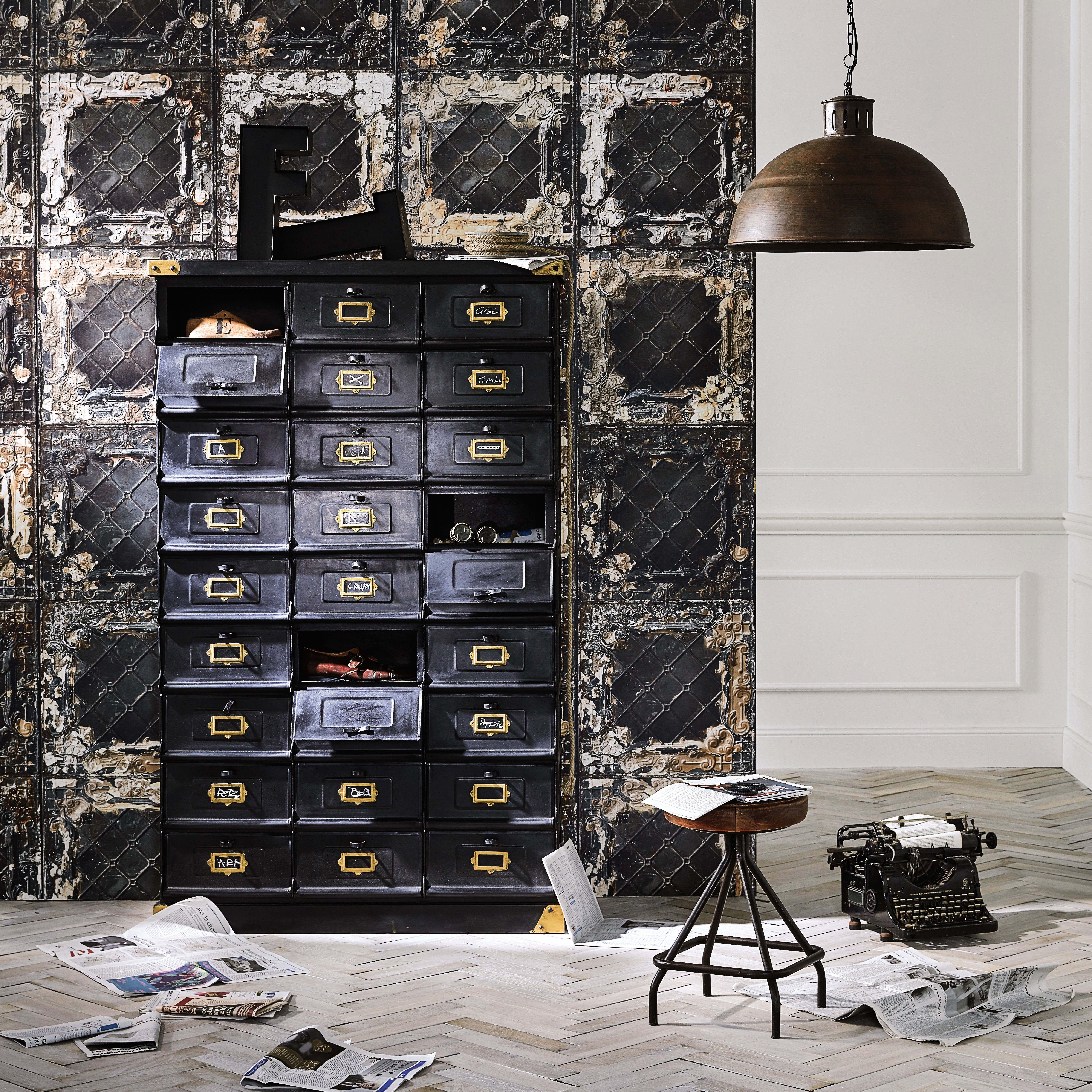 Metal Cabinet In Black W 104cm Office Cabinet De Rangement Decoration Style Industriel Retro Ameublement Industriel Vintage