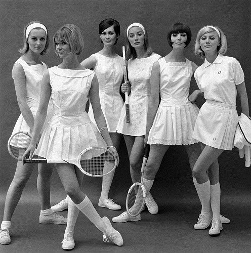 old school tennis outfits and gear. white ~ dresses ~ pleats ~ racquets ~  bobs
