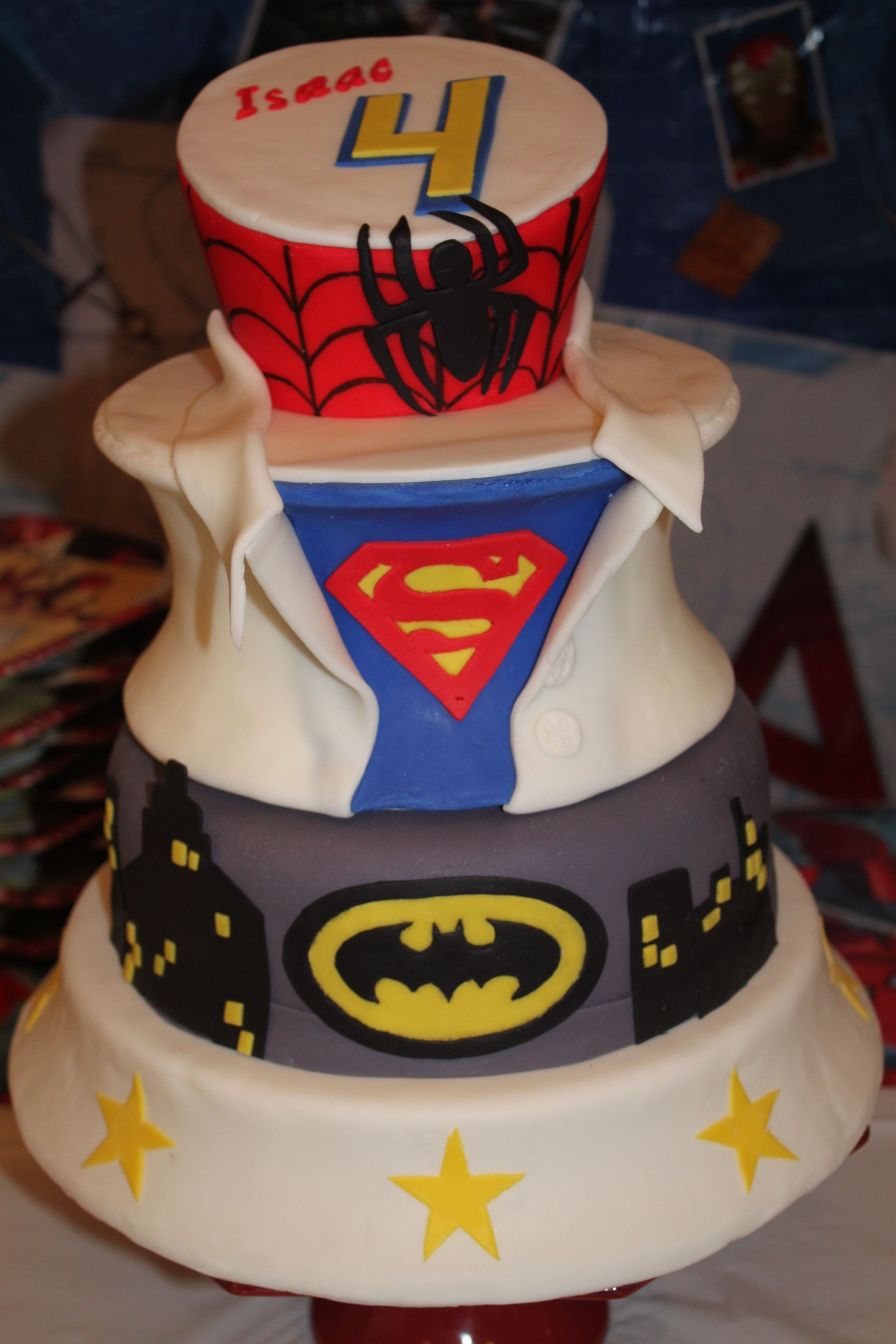 Incredible Superhero Cake For A 4 Year Old Boy 2Nd View With Images 4 Funny Birthday Cards Online Sheoxdamsfinfo