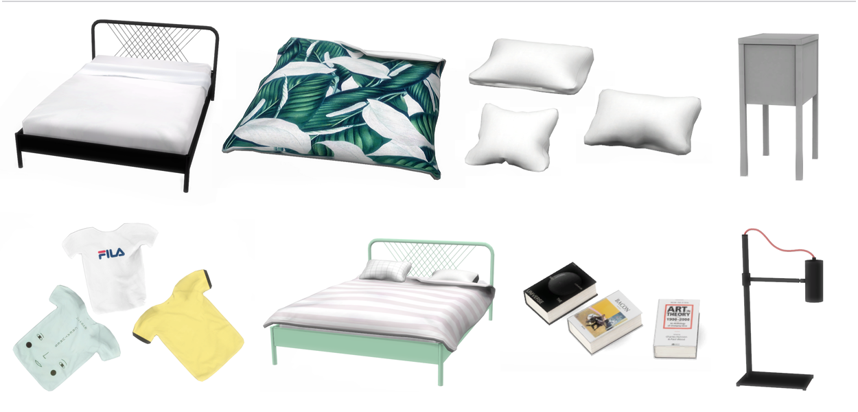 Bedroom Items. This is a new bedroom made by me  I was inspired the IKEA Nesttun