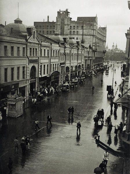 An old street under rain.