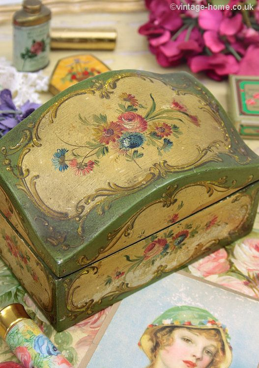 Vintage Home Shop - Pretty 1930s Venetian Hand Painted Box…
