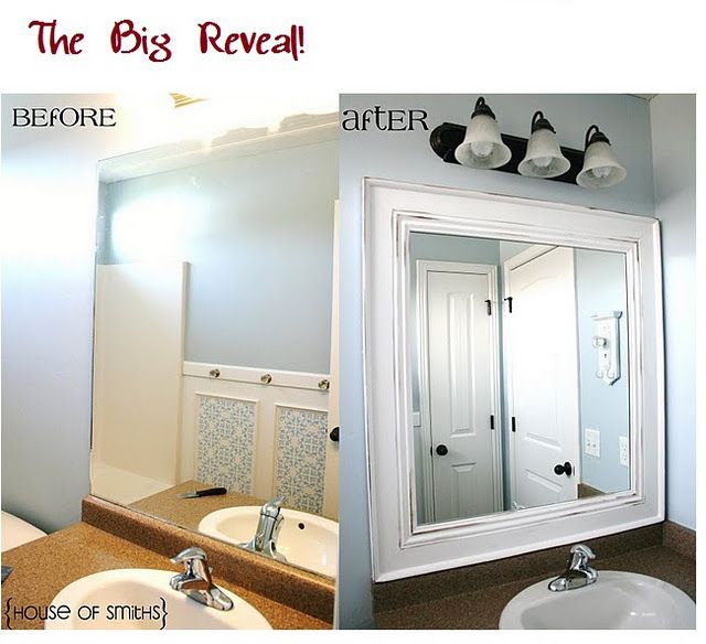 Another Amazing Bathroom Mirror Transformation Bathroom Mirrors Diy Home Diy Mirror Frame Diy