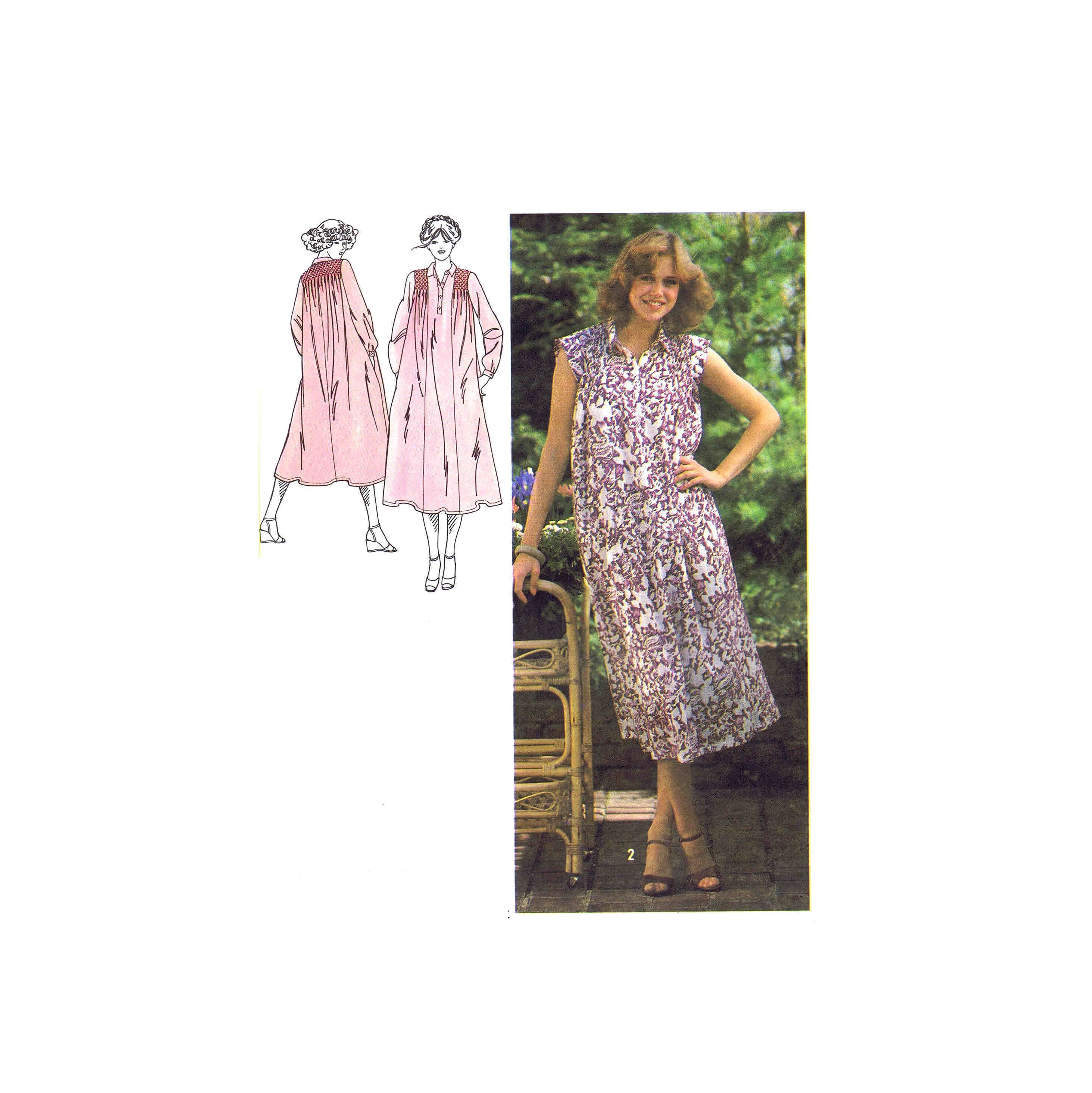 1970s Misses Smocked Dress Simplicity 8916 Vintage Sewing Pattern