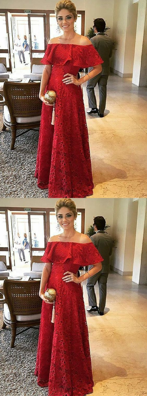 Elegant dark red off shoulder prom party dress with ruffles formal