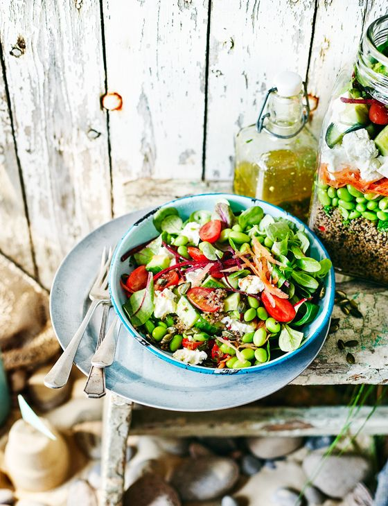 Layered rainbow salad with quinoa and feta - This beautiful bright salad is very easy to transport making it ideal for picnics and lunches.