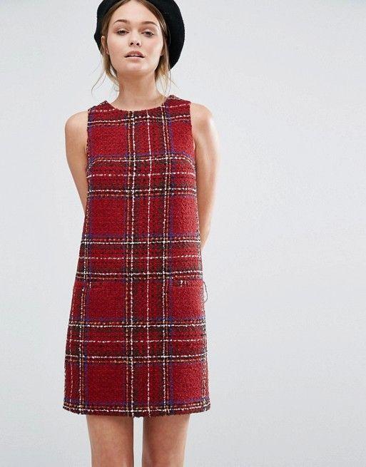 c467a10553c3f New Look - Robe droite écossaise en maille bouclée