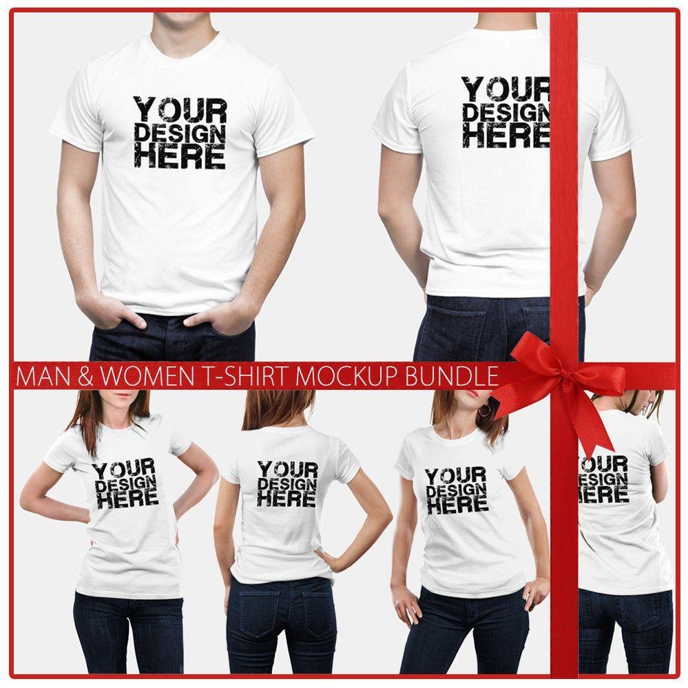 Download Men Women T Shirt Mock Up Bundle 6 Poses Models Mock Up Etsy T Shirts For Women T Shirt Clothing Mockup