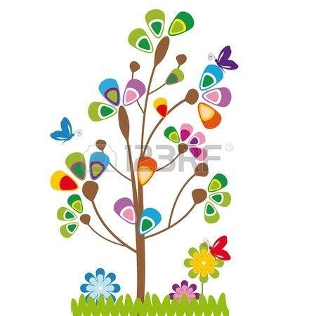 Los Ninos Lindos De La Historieta Con El Arbol Y Las Flores Arte De La Flor De Loto Dibujos De Arboles Arboles De Colores