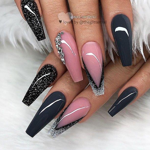 "TheGlitterNail 🎀 Get inspired! on Instagram: ""✨ REPOST *Werbung (unbezahlt)/advertising (unpaid) – – • – – Dark Grey, Soft Pink, Glitter and Crystals on long Coffin Nails ✨👌 – – • – – 💅…"""