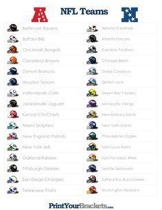 List Of Nfl Teams Printable List Of Nfl Teams Nfl Teams All