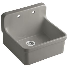 KOHLER Gilford 22-in x 24-in Cashmere Single-Basin Porcelain Drop-In Commercial/Residential Kitchen Sink