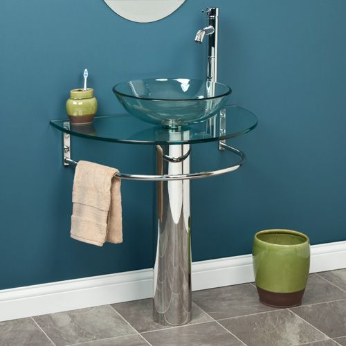 Charming Clear Glass U Shaped Pedestal Sink With Integral Bowl And Towel Bar