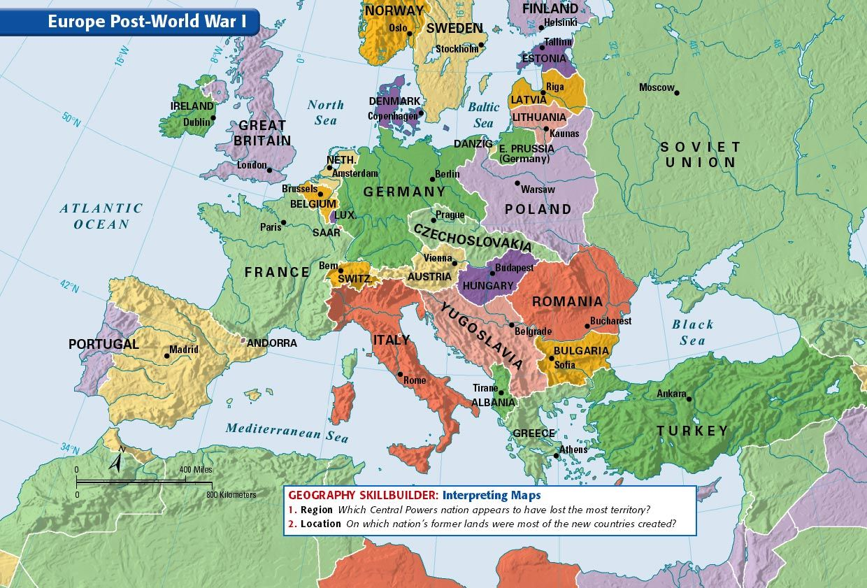 Europe Post-World War I | Historical Maps | Pinterest