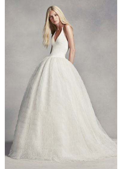 White by vera wang halter tulle wedding dress style vw351303 white by vera wang halter tulle wedding dress style vw351303 junglespirit Image collections