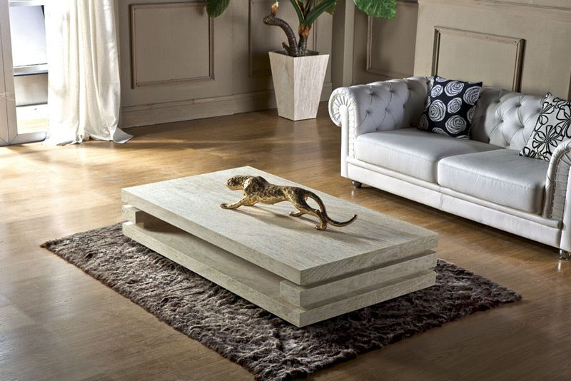 High end living room furniture iran travertine stone for Unique center table designs