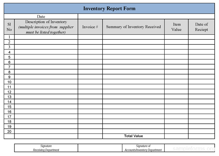 Inventory Report Form  Jama