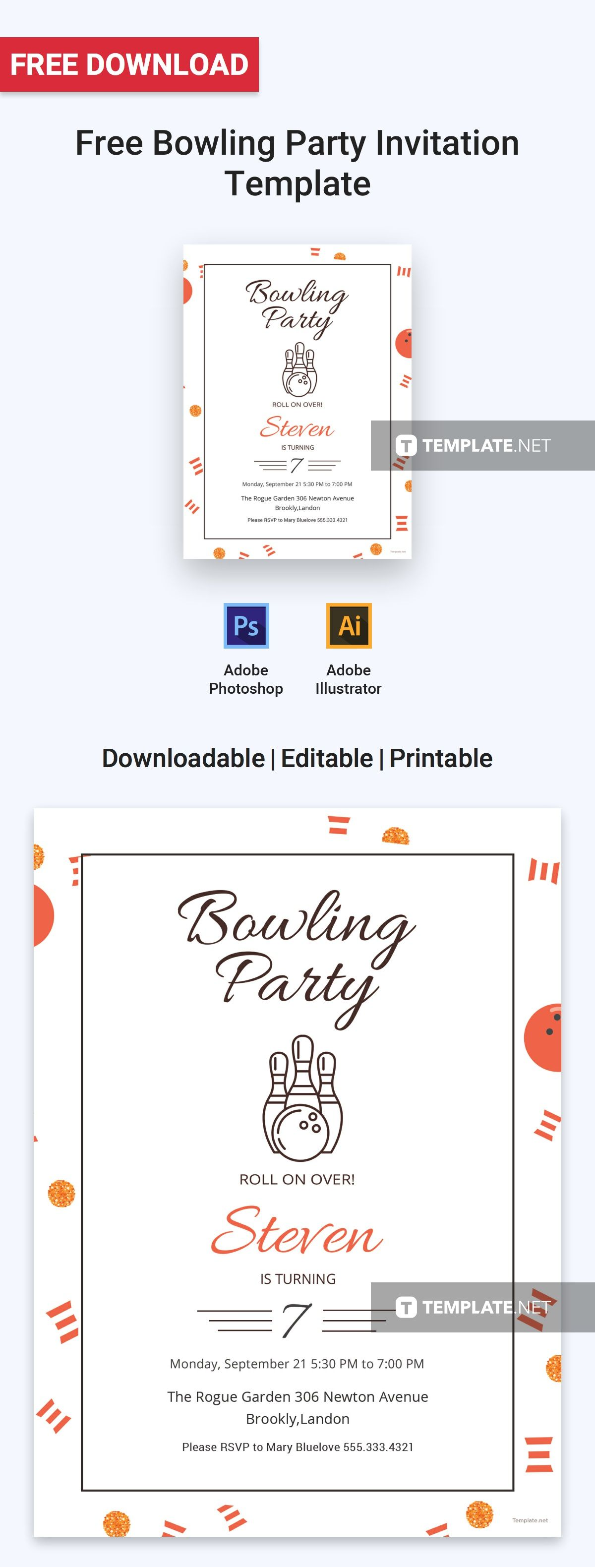 Free Bowling Party Invitation Template | Bowling party invitations, Party invite  template, Invitation template