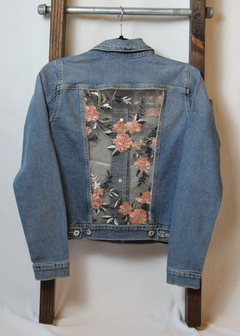 Denim jacket with sparkly, pink lace, XS, L made t