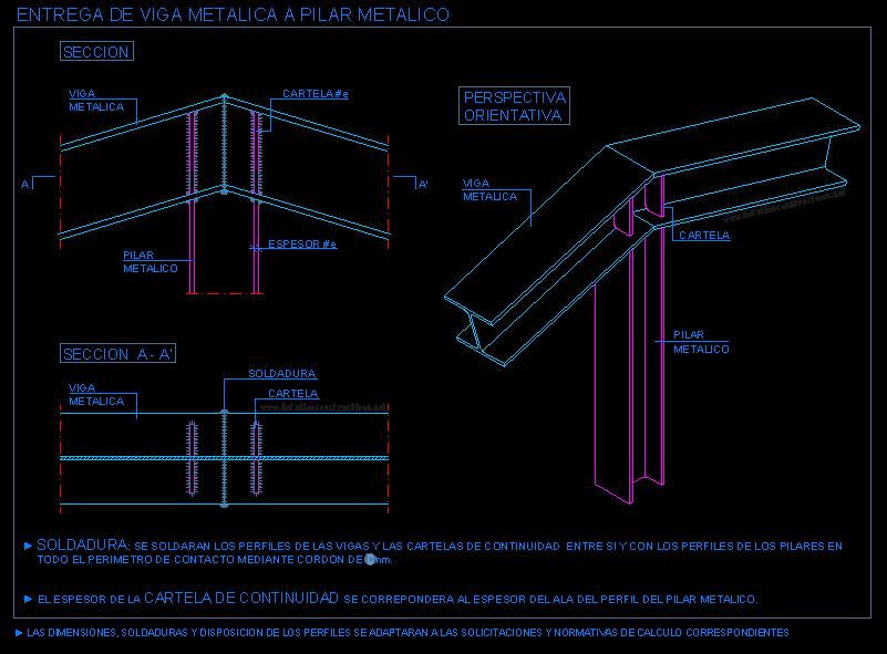 Union De Vigas Metalicas Inclinadas Con Pilar Metalico 1 Viga Metalica Vigas Vigas Estructurales