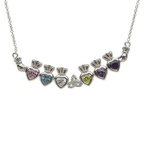 $239.99 Free Shipping Silver and shining as a mother's love, this customizable pendant is sure to please. Designed with personalization in mind, this beautiful pendant can have as few as one or as many as six individual hearts to represent beloved children. Twelve dazzling stone choices allow for the personalization to match any birthday.  #IrishGift #IrishJewelry #IrishNecklace #CelticJewelry