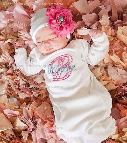 Newborn Girl Gown Infant Gown Baby Girl Gown Monogrammed Gown Personalized Gown Take Home Outfit Newborn Girl Gift Applique Gown With Bow Baby Gowns Girl Newborn Girl Baby Girl