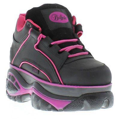 New Buffalo 1339-14 Mens Womens Black White Platform Trainers Boots Size UK 3-13
