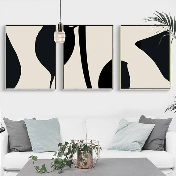 Abstract Leaves Art Black Beige Art Set Of 3 Prints Minimalist Etsy Wall Art Prints Living Room Simple Wall Art Black Wall Art