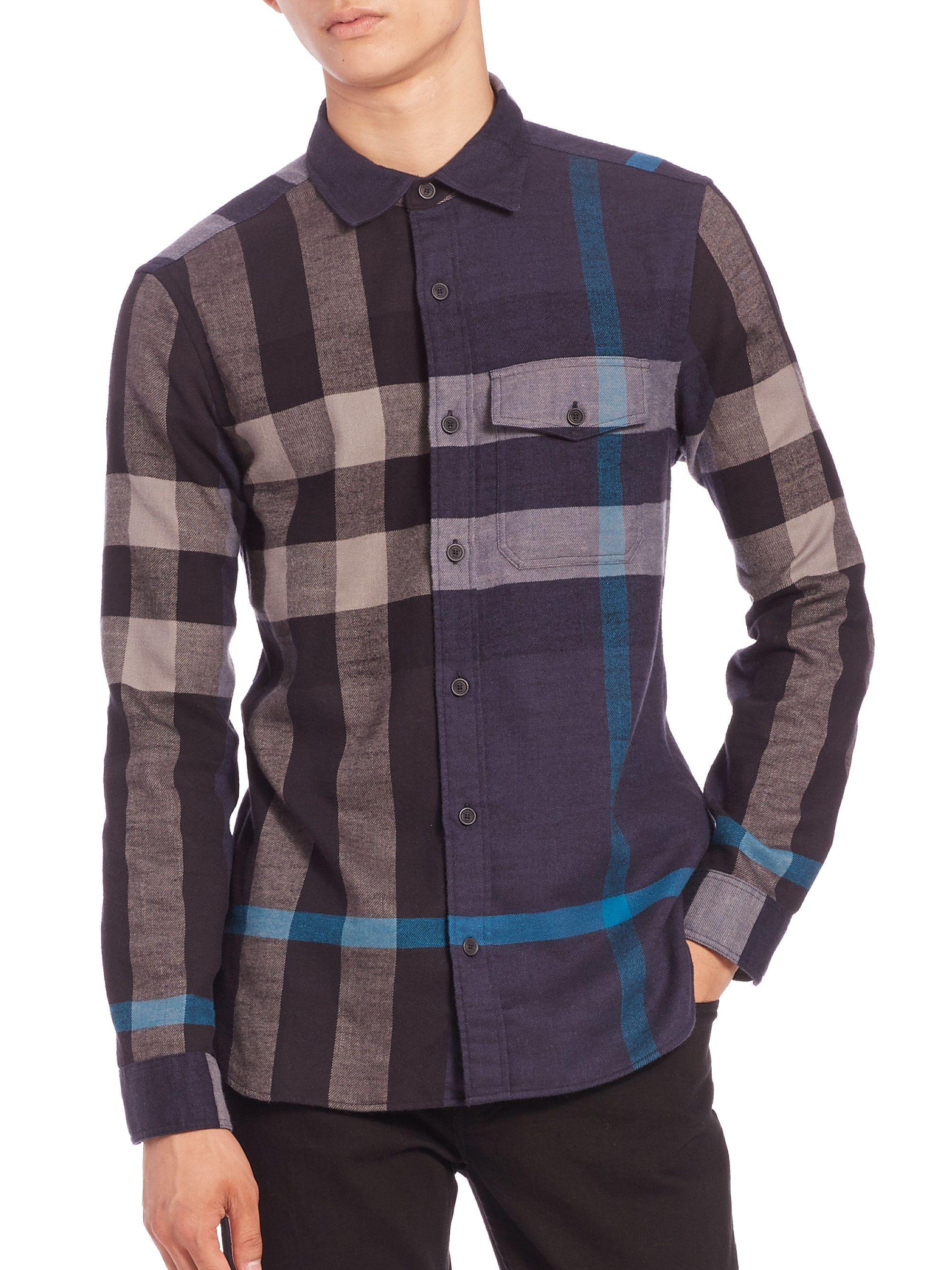 ce2fbb8f2ec7 Burberry Brit | Blue Jamie Checked Cotton Flannel Shirt for Men | Lyst