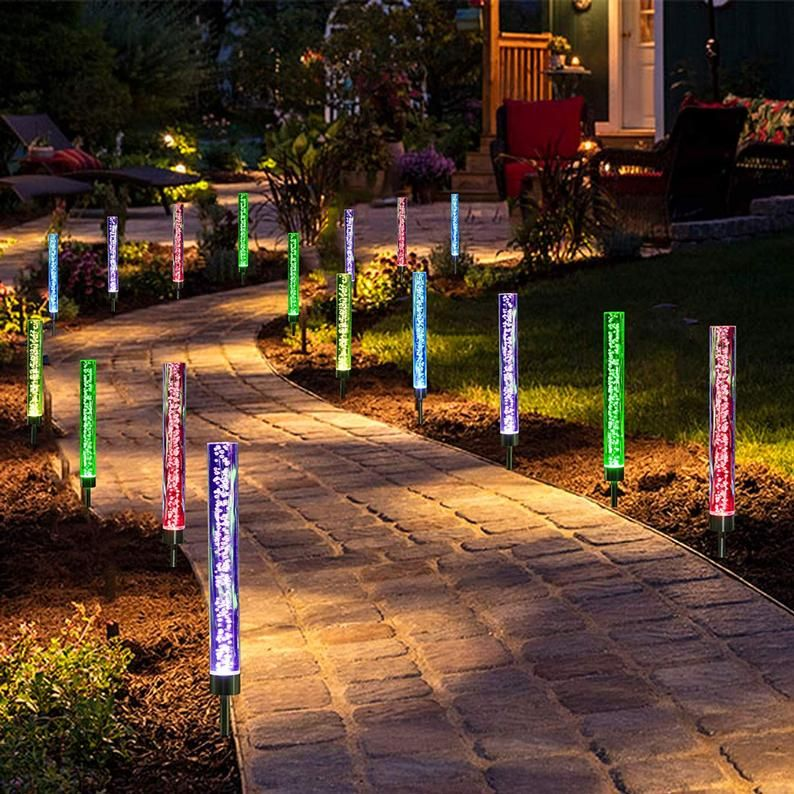 End Of Summer Sale Solar Garden Led Lights Color Changing Etsy In 2020 Led Garden Lights Outdoor Garden Lighting Garden Lighting