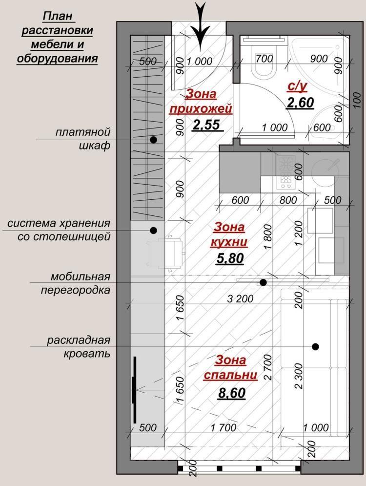 Plan mit aufteilung der bereichen in der kleinen wohnung for Wohnideen 60 qm