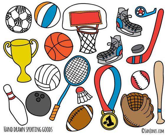 Sports school. Clip art hand drawn